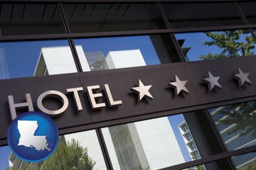 a hotel facade - with Louisiana icon