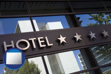 a hotel facade - with Wyoming icon