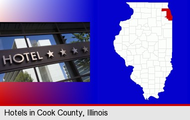 a hotel facade; Cook County highlighted in red on a map
