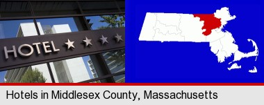 a hotel facade; Middlesex County highlighted in red on a map
